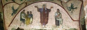 Fresco detail from the Cubiculum of the Veiled Woman, Catacomb of Priscilla, Via Salaria, Rome