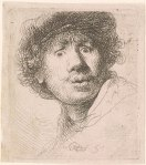 """Rembrandt Harmenszoon van Rijn, Self Portrait in a Cap, Open-Mouthed, Signed with monogram and dated, """"RHL 1630"""", (Pierpont Morgan Library Dept. of Drawings and Prints, RvR-442-B-320-recto)"""