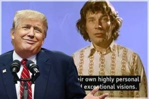 Donald Trump; John Berger in 'Ways of Seeing' (Credit: Getty/Tom Pennington)