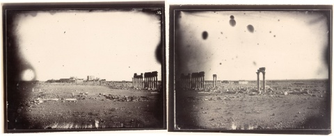 Two-part panorama featuring Colonnade Street, Louis Vignes, 1864. Albumen print. 8.8 x 11.4 in. (22.5 x 29 cm), each print. The Getty Research Institute, 2015.R.15 (digital image courtesy of the Getty's Open Content Program)