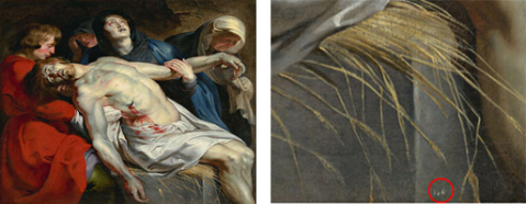 Left: The Entombment, Peter Paul Rubens, ca. 1612, oil on canvas. The J. Paul Getty Museum; right: Inventory number on The Entombment (detail). Digital images courtesy of the Getty's Open Content Program.