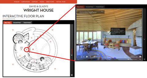 The David & Gladys Wright House virtual tour navigation and image