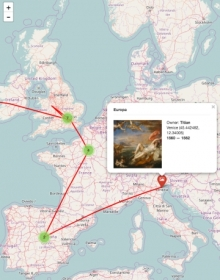 "Screenshot of Mapping Paintings, showing the migration of Titian's ""Europa"" (screenshot via mapping paintings.org)"