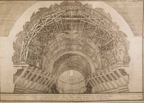 Giacomo Sangermano, engraving of a scaffolding for the restoration of the vault of St. Peter's Basilica (1700) [In. nos. 16577_56 and Roma XI.54.57]