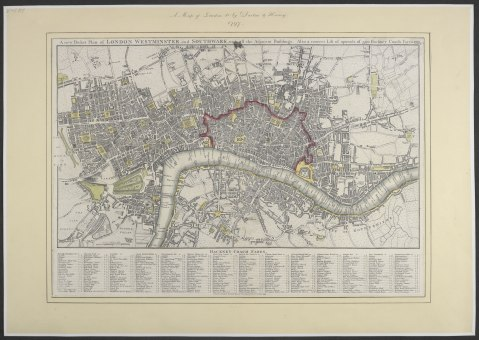 William Darton, A new pocket plan of London, Westminster and Southwark: with all the adjacent buildings. Also a correct lift of upwards of 300 hackney coach fares. (London, 1797) [Shelfmark: Maps Crace Port. 5.181]