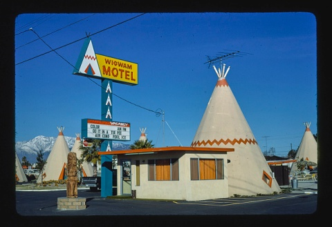 Wigwam Village Motel, Rialto, California, image date 1977 (John Margolies Roadside America photograph archive (1972-2008), Library of Congress, Prints and Photographs Division)