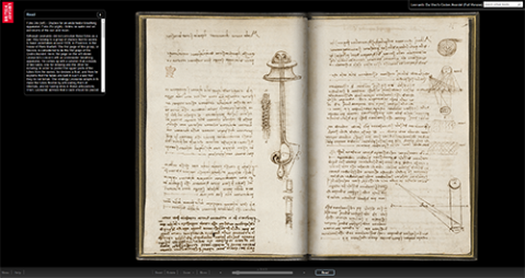 Screenshot of Leonardo da Vinci, Notebook ('The Codex Arundel'), Folio 24v (left) - Studies for an underwater breathing apparatus. Folio 25r (right) - Notes on water and on astronomy of the sun and moon (courtesy British Library)